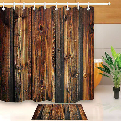 Aged Wooden Plank Fence Shower Curtain Set Bathroom Mat Polyester Fabric Hooks - Fence Hooks