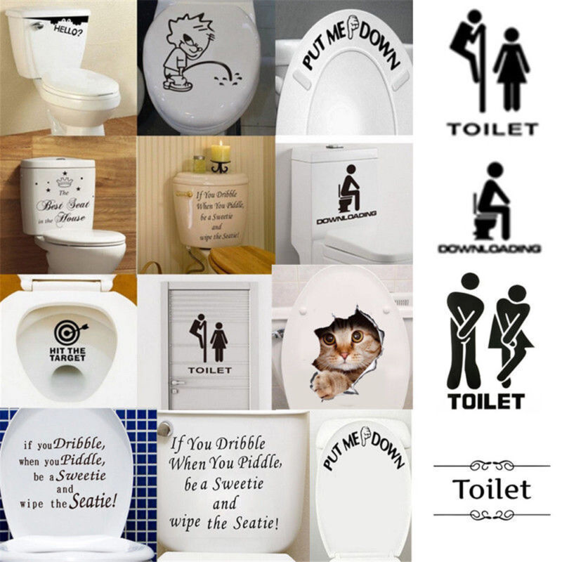 Funny Toilet Seat Sticker Vinyl Wall Art Decals Bathroom and