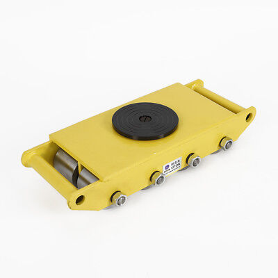 12t Machinery Mover Heavy Machine Dolly Skate Roller W 360 Rotation Cap Yellow