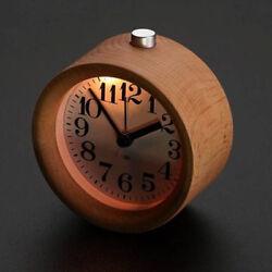Retro Small Round Silent Table Snooze Beech Wood Alarm Clock Night Light Decor