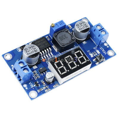 2pcs Lm2596 Dc To Dc Buck Step Down Converter Module With Led Voltmeter Red