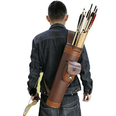 Archery Hunting Back Arrow Quiver Traditional Cow Leather Belt Holder Bag Pouch