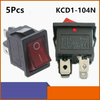 5pcs Kcd1-104n On-off 4 Pin Rocker Boat Car Switch 6a250v 10a125v Ac Red Light