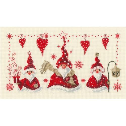 Counted Cross Stitch Kit  CHEERFUL SANTA GNOMES Christmas