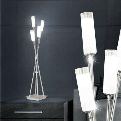 LED Lámpara de Pie Níquel Diseño de Cristal Luz Iluminación Salón Mesa