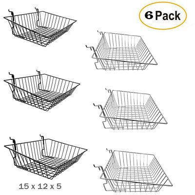Pack 6 - Shallow Wire Baskets For Gridwallslatwallpegboard - Blackchrome