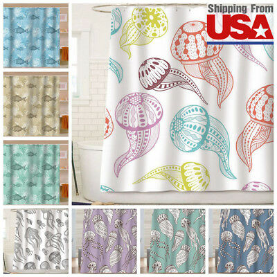 Resistant Waterproof Fabric Shower Curtain Bathroom Child Hooks 72Inch ()