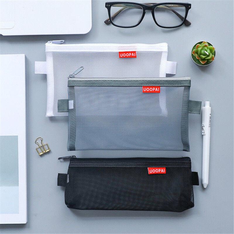 1x Transparent Clear Student Pen Pencil Case Zip Mesh Portab