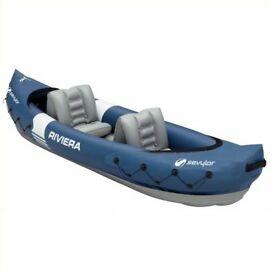 2 x Sevylor 2 Person Kayaks and Accessories (buoyancy aid, skeg, wetsuit and paddles)