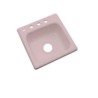 "Thermocast Manchester Drop-In Acrylic 16"" 3-Hole Single Bowl Bar Sink, Wild Rose"