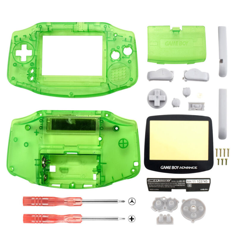 New Full Housing Shell Button Parts for Gameboy Advance GBA Repair Clear Green