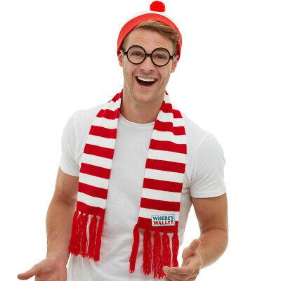 Wheres Wally Schal Mütze Brille Kostüm - Wheres Wally Kostüm