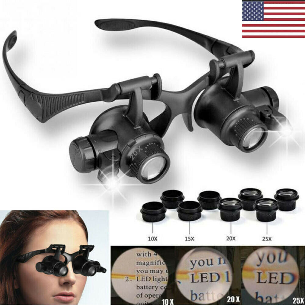 LED Double Eye Loupe Lens Spectacles Magnifier Jewelry Optical Magnifying Glass