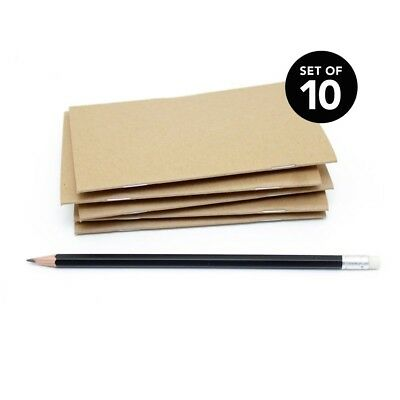 Blank Notebooks (Kraft Bulk Notebooks, 10 Pack, 3.5 x 5.5 Inch, Kraft Cover, Blank)