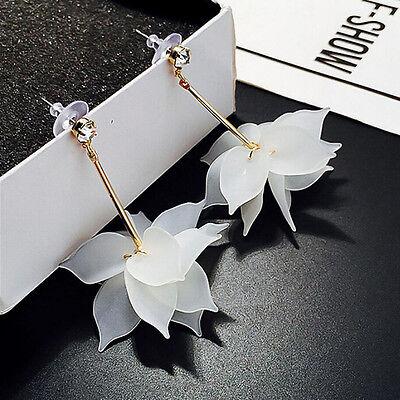 Elegant Women Crystal Flower Ear Drop Long Dangle Stud White Earrings Jewelry