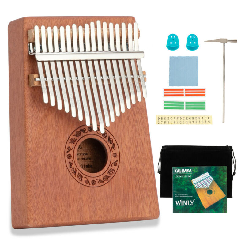 17-Key Kalimba Thumb Piano Toy Wooden Mahogany Finger Musical Instrument Kit US