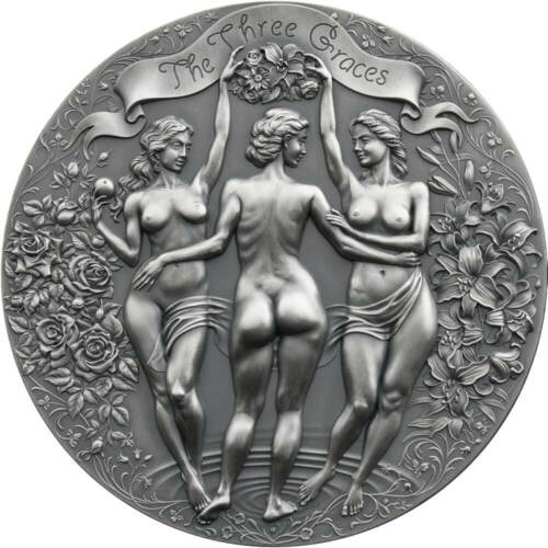 THREE GRACES Celestial Beauty 2020 2 oz Pure Silver Antique Finish Coin Cameroon