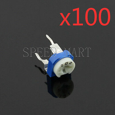100 Pcs 2k Blue White Adjustable Resistor Resistance 202