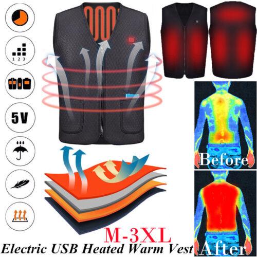 USA Winter Heated Warm Vest Electric USB Men Women Heating C