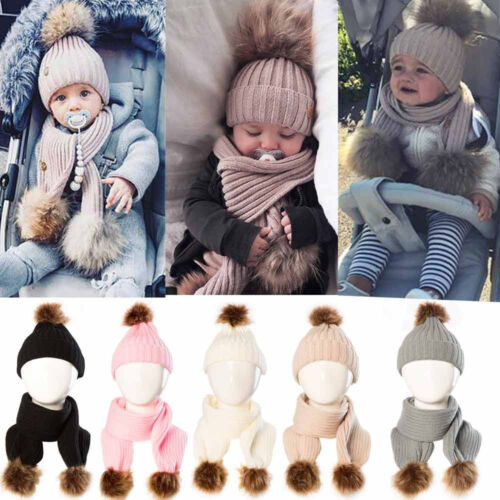 2PCS Winter Warm Newborn Baby Boy Girl Bobble Knit Fur Pom Beanie Cap Hat+Scarf