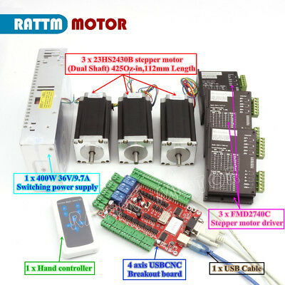 Usb Cnc Controller Kit 3 Axis Nema23 Stepper Motor 425oz.indriverpower Supply