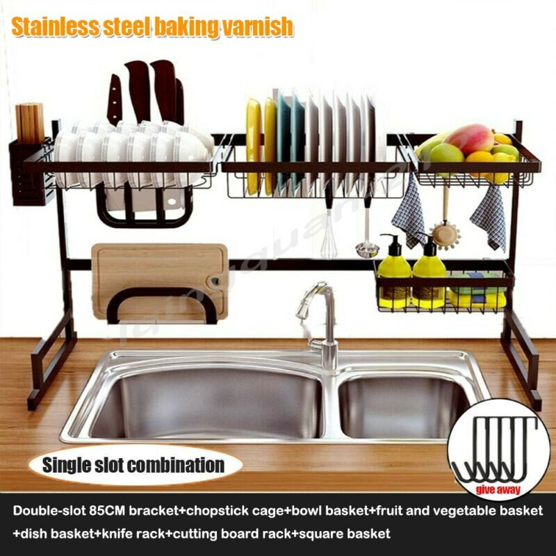 Over The Sink Dish Drying Rack Shelf Stainless Steel Kitchen Cutlery Holder 85CM