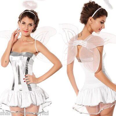 Damen Sexy Weihnachten Weihnachtsengel + Wings & Halo Kostüm Kleid Outfit - Sexy Halo Kostüm