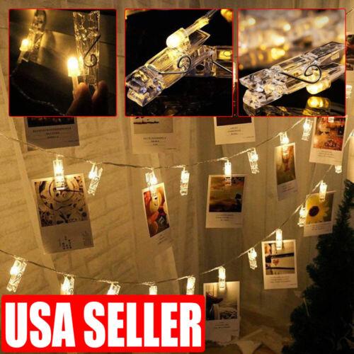 20 LED Photo Clip Card String Fairy Lights Battery Christmas Wedding Lamp Home & Garden