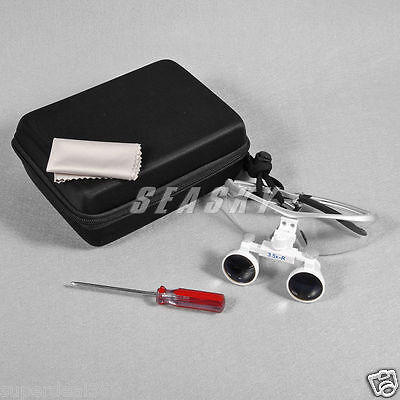 New Dental Optical Surgical Binocular 3.5x-420mm Loupes Glasses Magnifier Silver