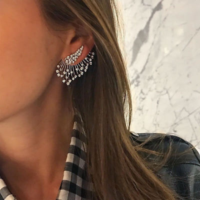 Charm Women Boho Cuff Elegant Crystal Rhinestone Ear Stud Clip Earrings Jewelry