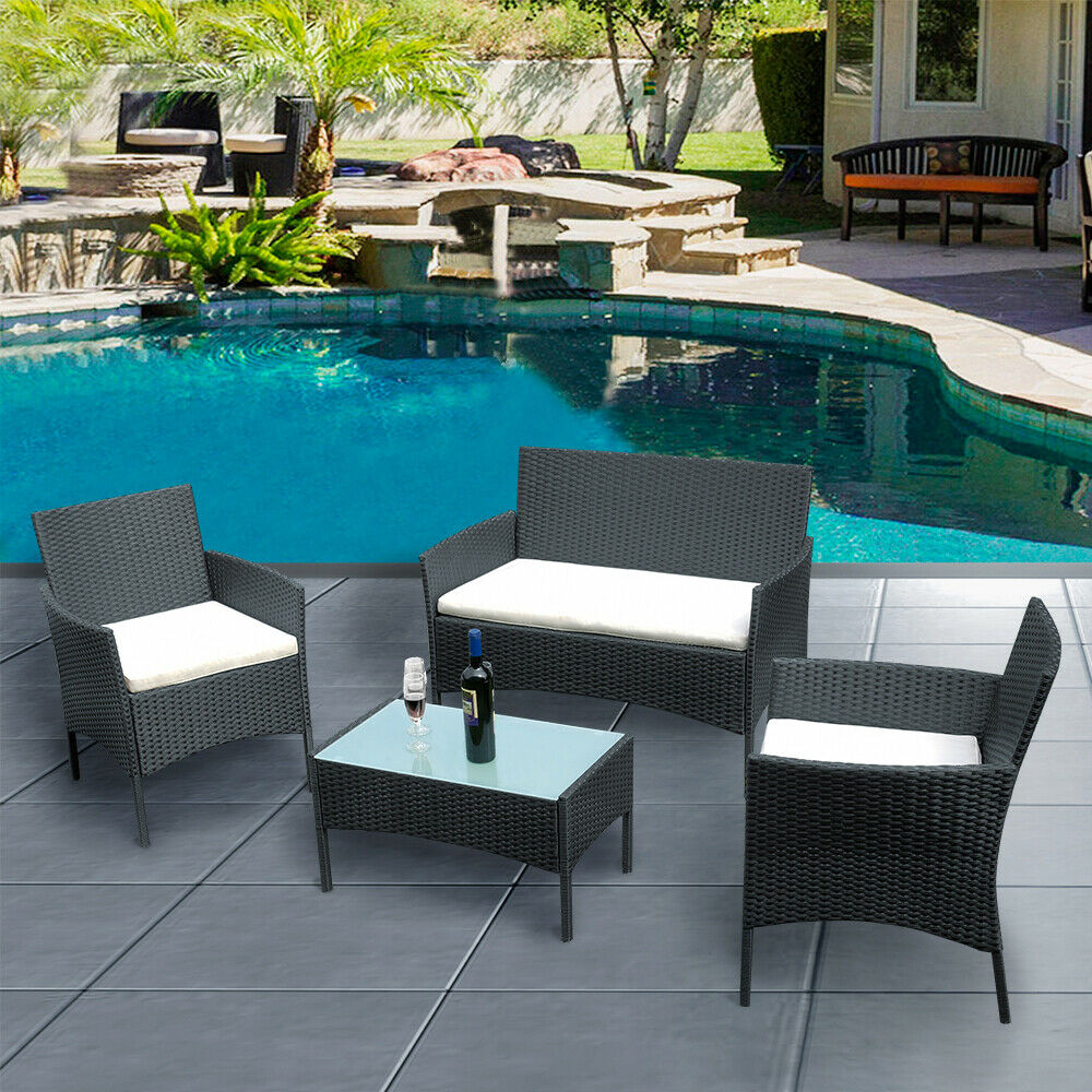 Garden Furniture - Black Rattan Garden Furniture 4 piece Set Chair Sofa Table Waterpool Patio