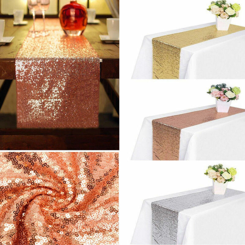 Glitter Sequin Table Runners Cloth Rose Gold Wedding Xmas Pa