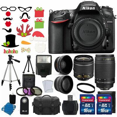 Nikon D7200 Digital SLR Camera +4 Lens 18-55mm VR 70-300 +32GB Glaring Value Bundle
