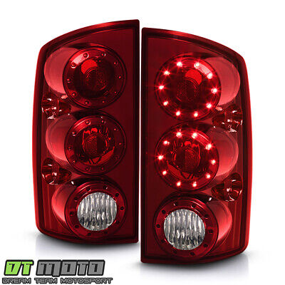 2002-2006 Dodge Ram 1500 03-06 2500/3500 LED Tail Lights Brake Lamps - Red Clear