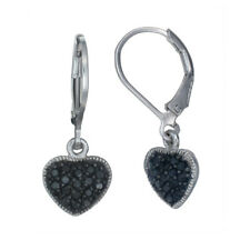 1/3 cttw Heart Shape Black Diamond Dangle Earrings .925 Sterling Silver 1 Inch