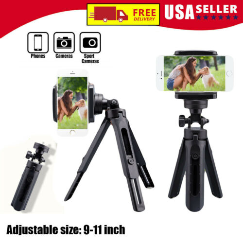 Professional Camera Tripod Stand With Phone Holder Mount Adjustable Height Desk Cameras & Photo