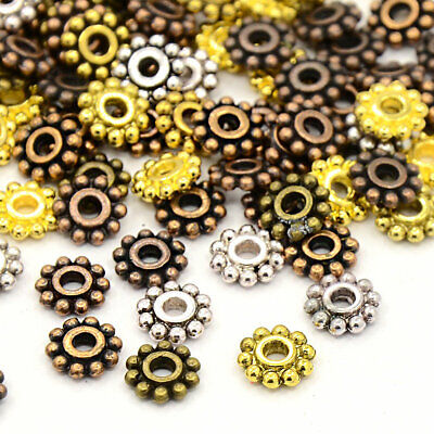 50 Spacer Beads Assorted Antique Silver, Bronze, Copper Gold Tone 6.5mm - FD384