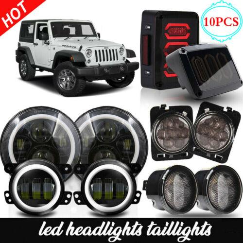 Jeep Halo Headlights >> Details About Fits Jeep Wrangler Jk Led Halo Headlights Fog Turn Fender Tail Lights Combo Kit