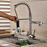 Uk Chrome Kitchen Monobloc Sink Mixer Tap Spring Spout Pull Out Spray Hea - ouboni - ebay.co.uk