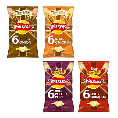 Walkers Crisps Spicy Sriracha BBQ Pulled Pork Roasted Chicken Potato Crisps