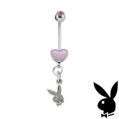 Playboy Belly Ring Heart Bunny Dangle Surgical Steel CZ Gem Play Boy y2k EASTER, Crystal Heart Dangle Belly Ring