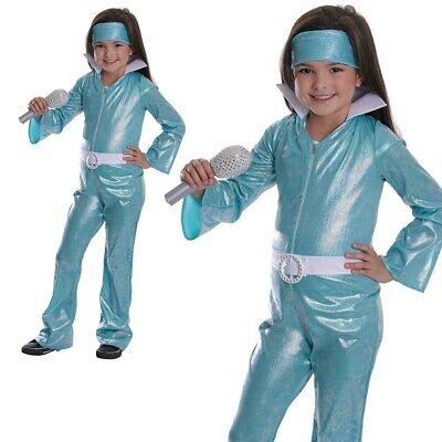Kinder Pop Star Diva Kostüm Mädchen 1970s Dancing Queen Kostüm Outfit Kinder - Dancing Queen Kostüm Blau