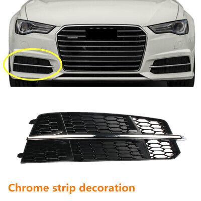Chrome Left Driver Bumper Grille Cover Black Plastic For 2016-2017 Audi A6
