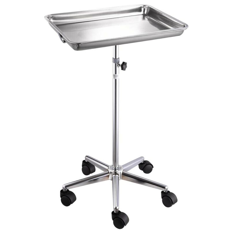 """StainlessSteelTrayMayoStandwithCastersHeight29""""-467/8""""Removable Spa"""