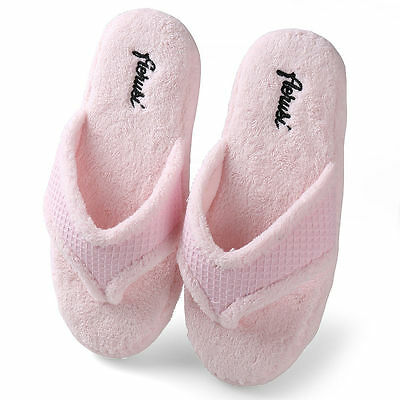 cf6670f5724 Pink Women Fuzzy Plush Thong Slippers Flip Flops House Bedroom Shoes Size 7  8 9