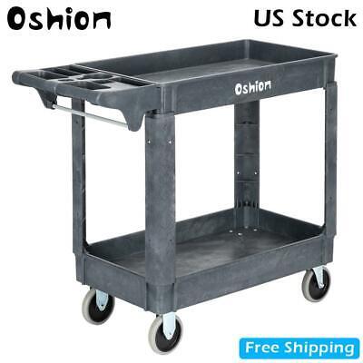 Plastic Utility Service Cart 2 Shelves Rolling Push Handle 500 Lbs Capacity Us