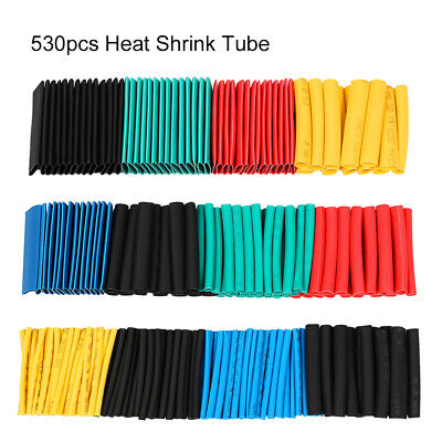 530pc Heat Shrink Tubing Assorted Wrap Wire Cable Tube 21 Sleeve Kit Polyolefin