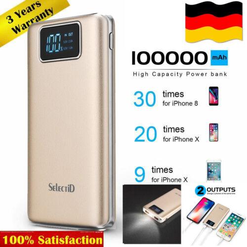 100000mAh PowerBank 2USB Ladegerät Zusatzakku Charger Pocket