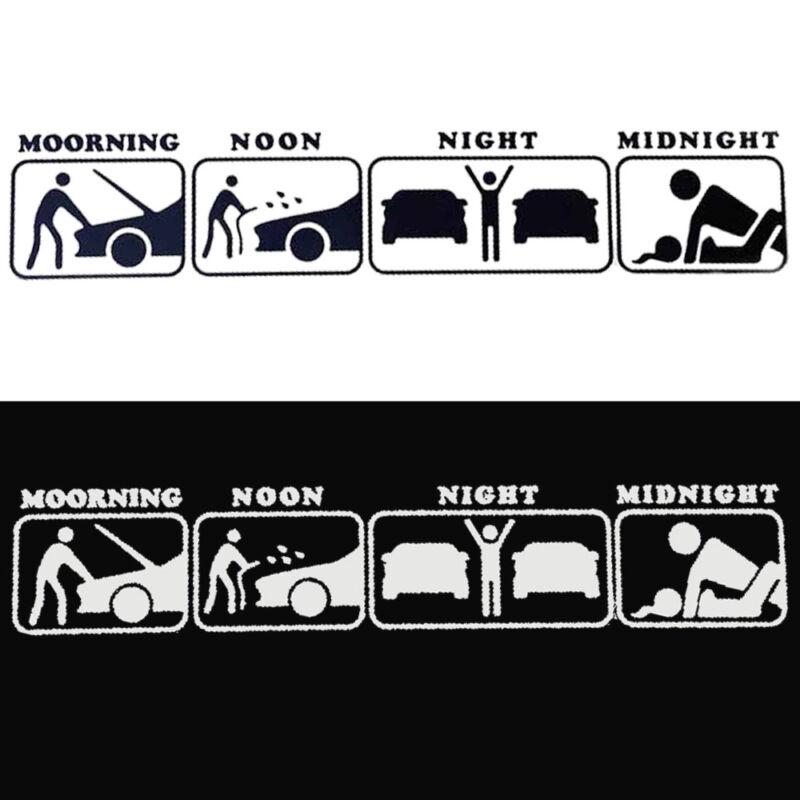Silver White Morning Noon Night JDM Funny Life Car Sticker PET Decal 30cmx5.8cm