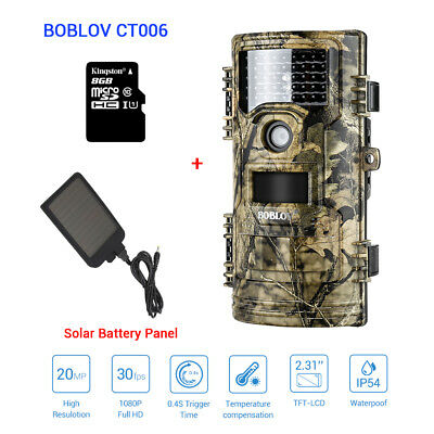 Gb-20 Digitalkamera (8GB+ 20MP 1080P Trail Camera Farm Security Infrared Waterpoof 8GB+Solar Battery)